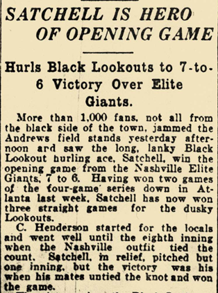 Opening Game with Chattanooga Black Lookouts - 1928