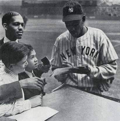 With fans in Yankee Stadium